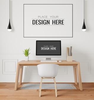 Marco de póster en maqueta de oficina