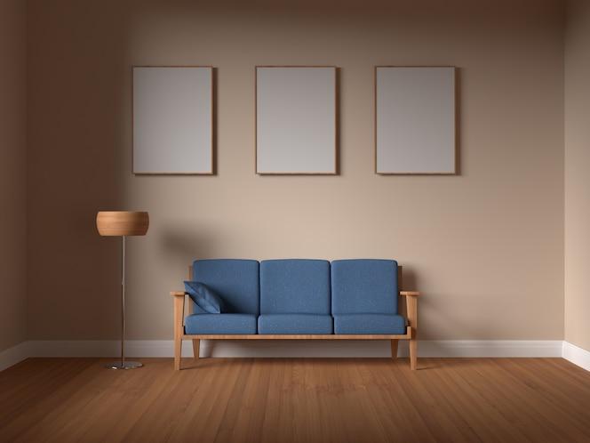 Marco de póster de maqueta en sala de estar interior con sofá