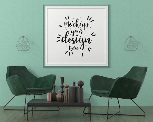 Marco de póster en maqueta de sala de estar
