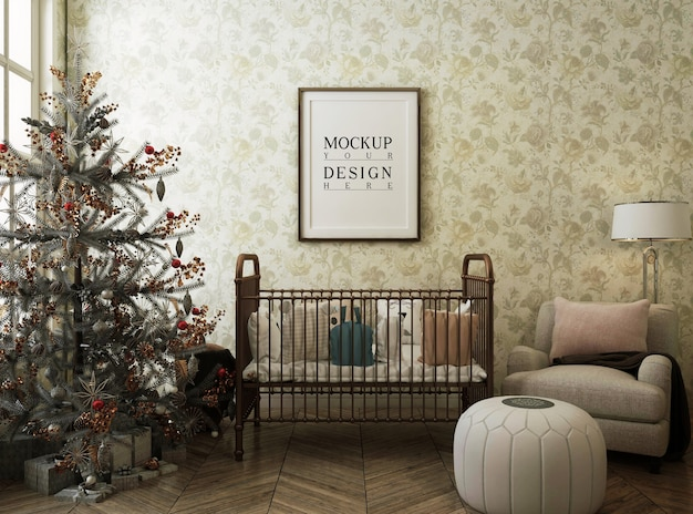 Marco de póster de maqueta en sala de guardería con árbol de navidad y decoración