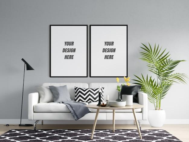 Marco de póster de sala de estar y maqueta de pared