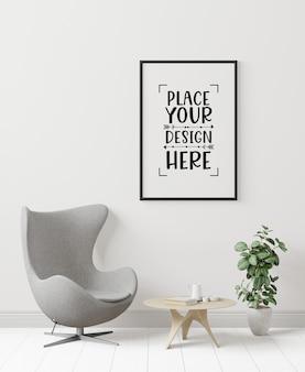 Marco de póster en la sala de estar psd mockup