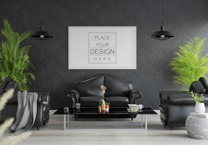 Marco de póster en la sala de estar