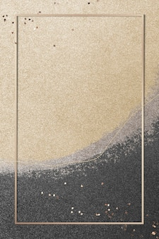 Marco de rectángulo de oro en la ilustración de fondo de brillo dorado