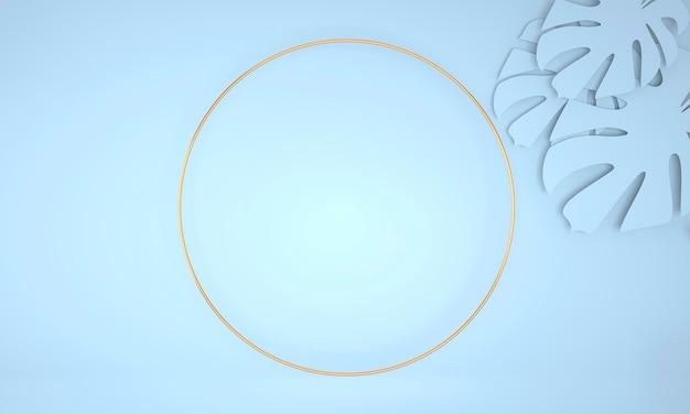 Marco redondo decorativo con hojas de monstera, render 3d