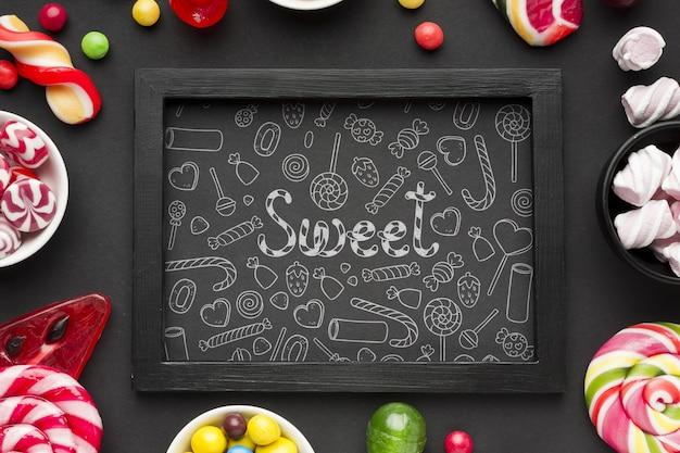 Marco de sabrosos dulces