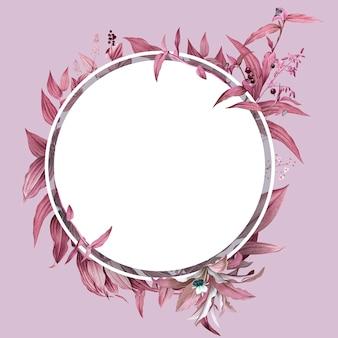 Marco vacío con diseño de hojas rosadas