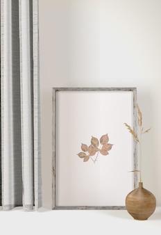 Marco de vista frontal con cortinas y jarrón