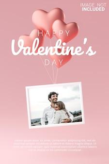Marco volando con amor plantilla de maqueta de globo de corazón cartel de feliz san valentín