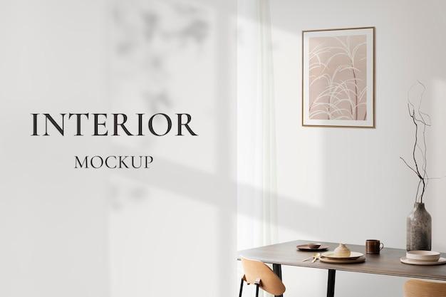 Marcos de cuadros psd colgados en la pared diseño de interiores escandinavo