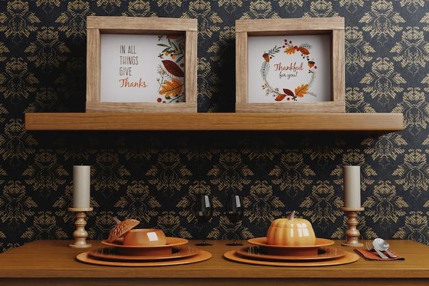 Marcos y decoración para el día de acción de gracias.