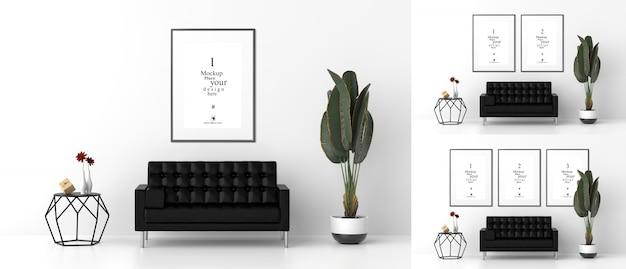 Marcos de fotos en blanco para maquetas en la sala de estar