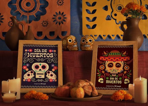Marcos de maquetas para el evento de dia de muertos en la mesa