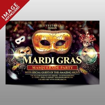 Mardi gras masquerade partij flyer