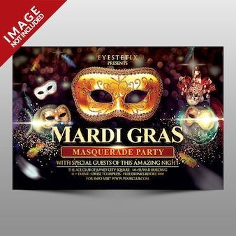 Mardi gras masquerade party flyer