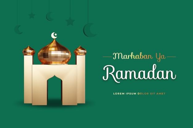 Marhaban ya ramadan-ontwerp met 3d-rendering mockup