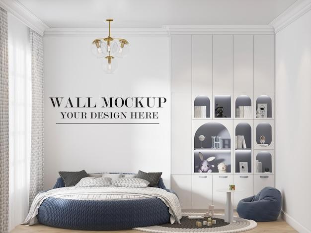 Marineblauw rond bed voor mockup-muur