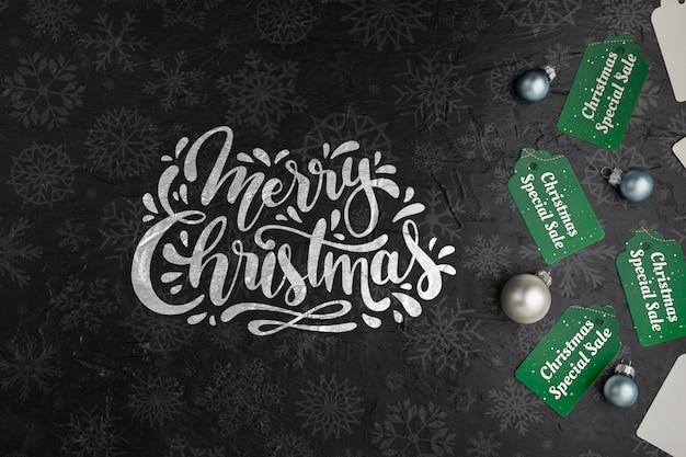Markeringen met vrolijk kerstmisbericht