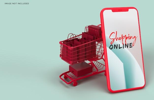 Marketing de concepto de negocio de maqueta de compras en línea