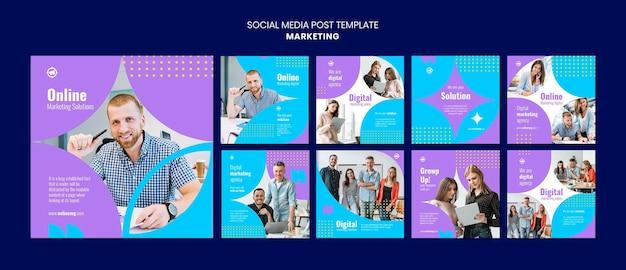 Marketing instagram postsjabloon
