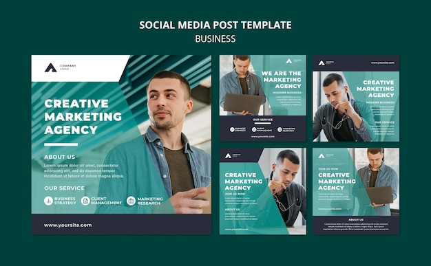 Marketingbureau social media postsjabloon Gratis Psd