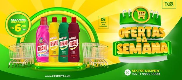 Marketingcampagne in brazilië sjabloonontwerp 3d render