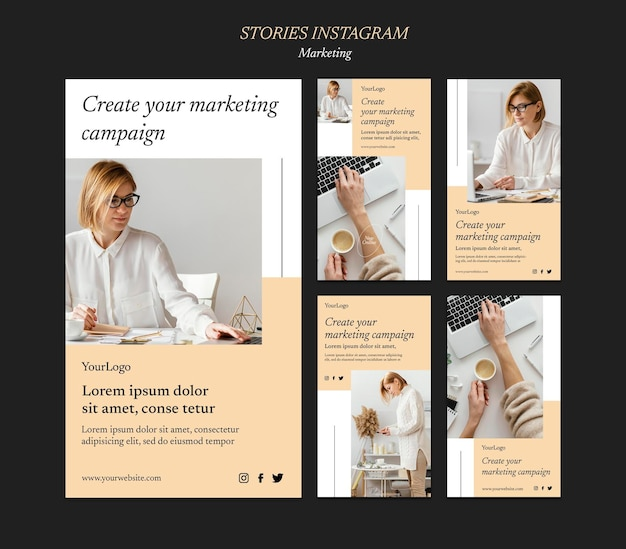 Marketingcampagne social media verhalen sjabloon