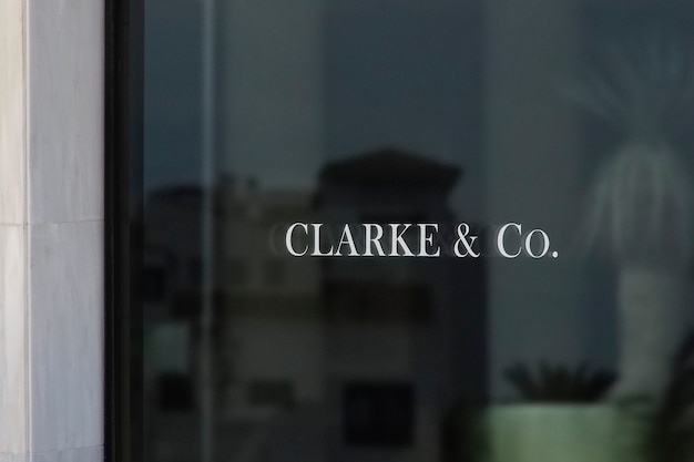 Marmeren venster teken logo mockup