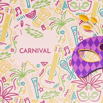 Máscara de carnaval brasileño colorido