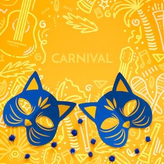 Máscaras de gato de carnaval con pompones