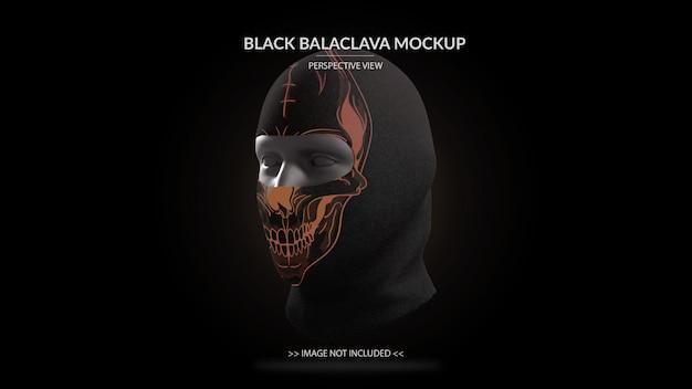 Mascarilla completa vista de perspectiva de maqueta de pasamontañas negro - maniquí masculino