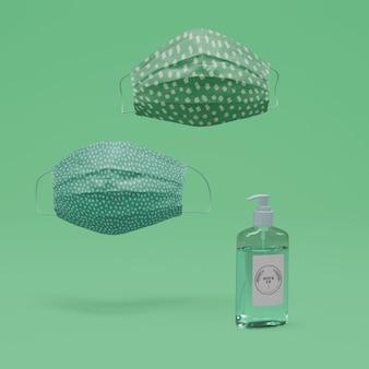 Mascarillas y desinfectante para manos hechos a mano con maqueta