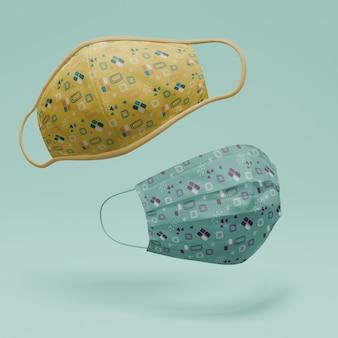 Mascarillas hechas a mano con concepto de maqueta