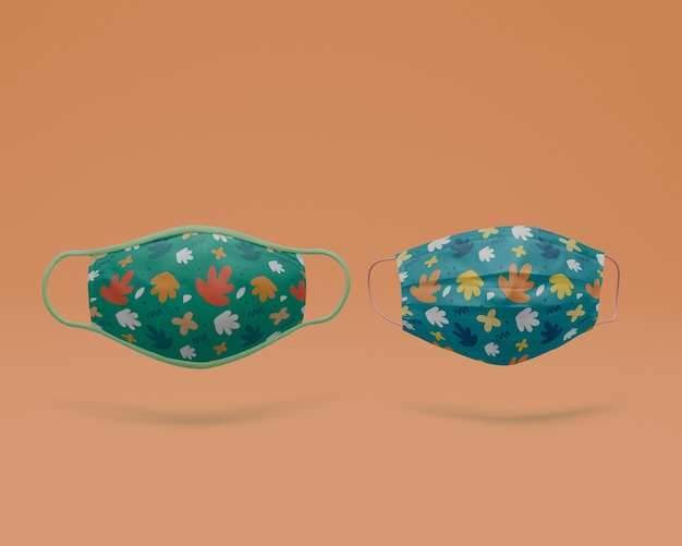Maschere fatte a mano con il concetto di mock-up