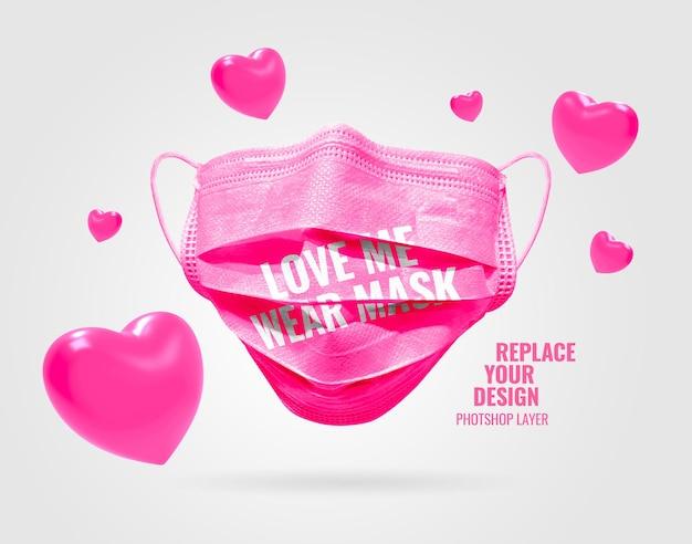 Masker valentijn mockup realistisch