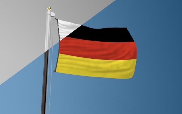 Mástil de bandera con la bandera de alemania