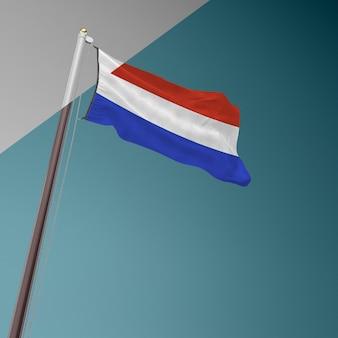 Mástil de bandera con la bandera de francia