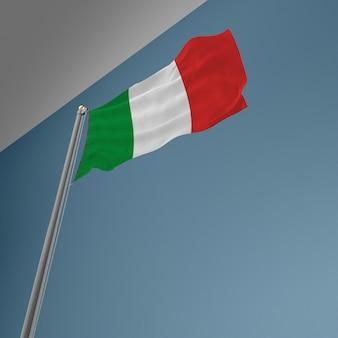 Mástil de bandera con la bandera de italia