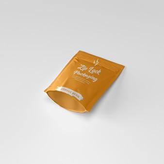Mat ritssluiting zakje koffiepoeder container bodem liggend mockup