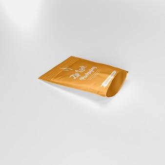 Mat ritssluiting zakje koffiepoeder container kant liggend mockup