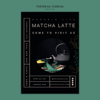 Matcha thee poster flyer concept