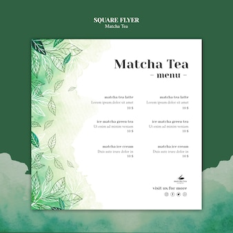 Matcha thee vierkante flyer concept mock-up