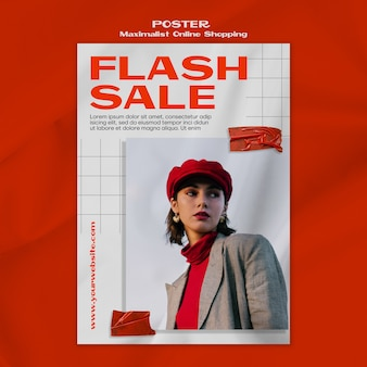 Maximalistische online shopping poster sjabloon met foto