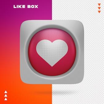 Me gusta de la caja de instagram en representación 3d aislada