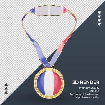 Medalla 3d bandera de francia renderizado vista frontal