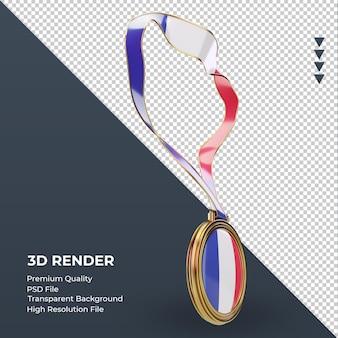 Medalla 3d bandera de francia renderizado vista izquierda