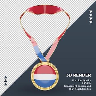 Medalla 3d bandera de holanda renderizado vista frontal
