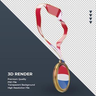 Medalla 3d bandera holandesa renderizado vista izquierda