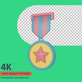 Medalla 3d veterano icono ilustración render de alta calidad