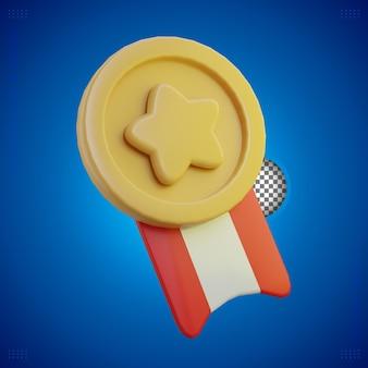 Medalla de oro de renderizado 3d con estrella y cinta roja